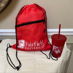 Fairfield University Drawstring Bag & Snap Lid Cup